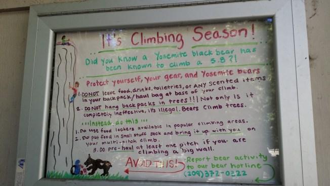 Camp 4 Warning Bears Yosemite
