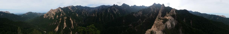 Panorama from the top of Janggun Bong Rock Climbing South Korea Seoraksan