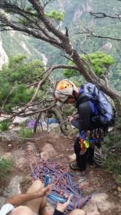 Preparing the abseil on Janggun Bong Rock Climbing South Korea Seoraksan