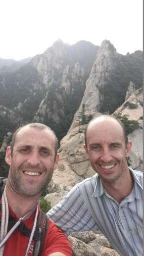 Stephane Coupleux and David Acott on Janggun Bong Rock Climbing South Korea Seoraksan