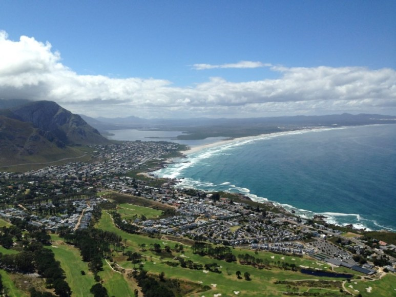 While in the air paragliding at Hermanus