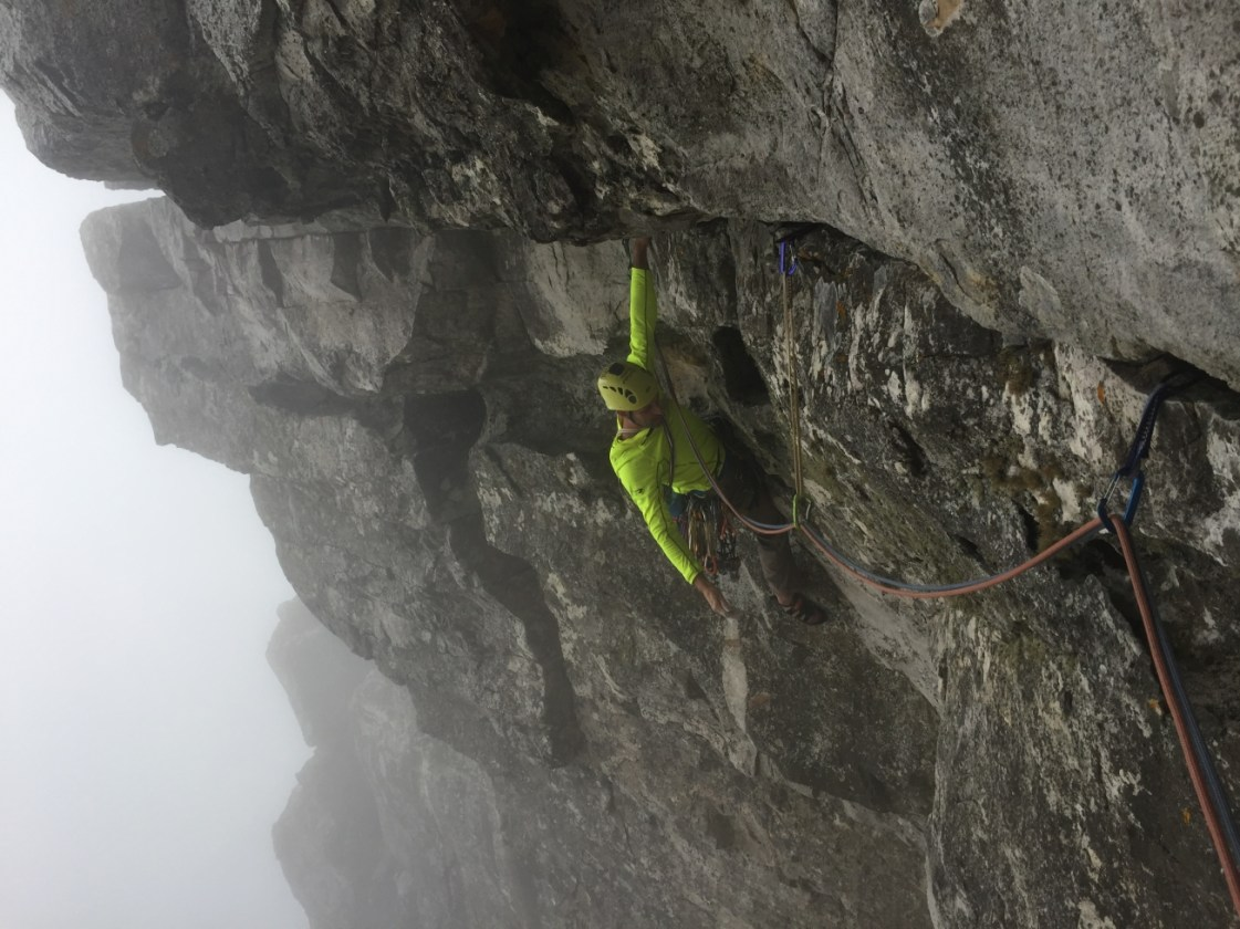 "On the ""Cubby Hole rest"" during the traverse pitch of Roulette"
