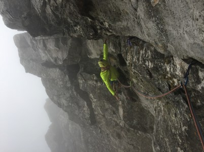 """On the """"Cubby Hole rest"""" during the traverse pitch of Roulette"""