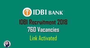 IDBI Recruitment 2018