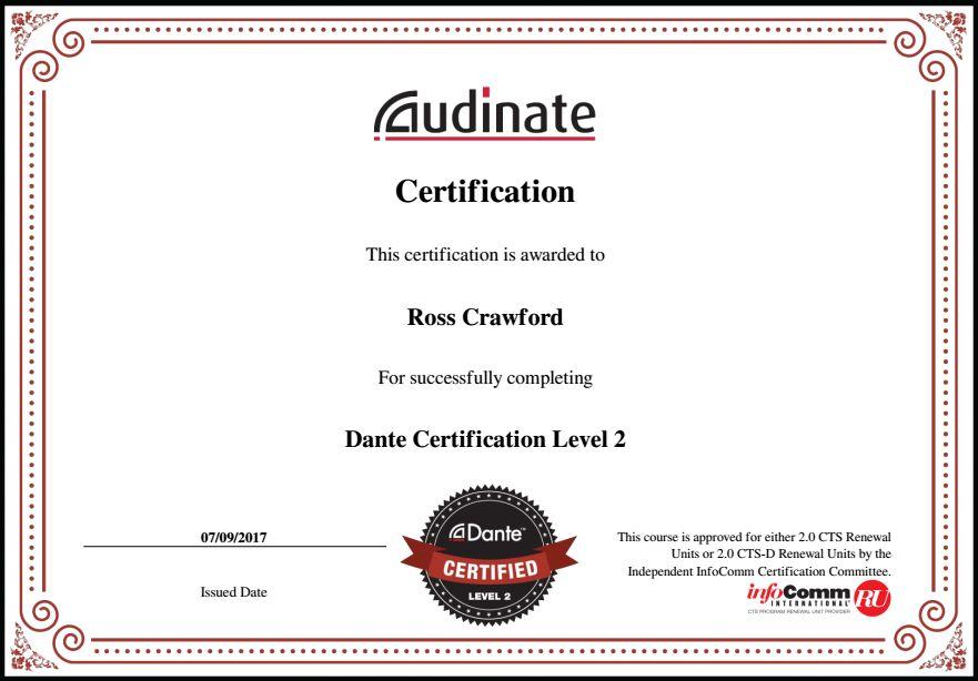 DANTE certificate
