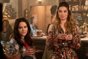 Emily Hampshire as Stevie Budd and Annie Murphy as Alexis Rose in the Schitt's Creek episode The Bachelor Party