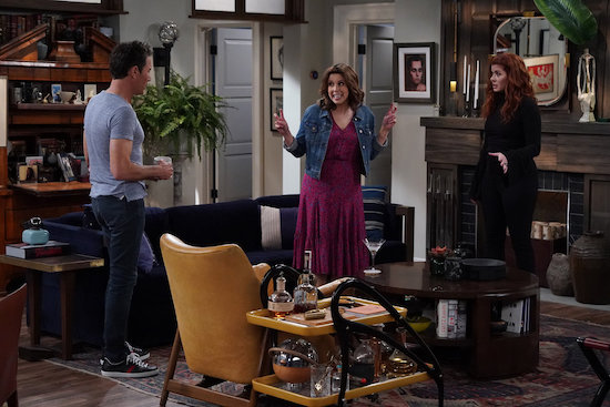 Eric McCormack as Will Truman, Vanessa Bayer as Friday, Debra Messing as Grace Adler in Filthy Phil Part 2