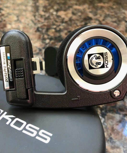 Koss Porta Pro Wireless and zippered case (the side ear plates look like musical notes)