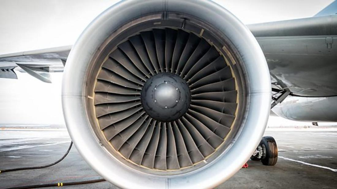 A picture of a jet engine. From BBC.