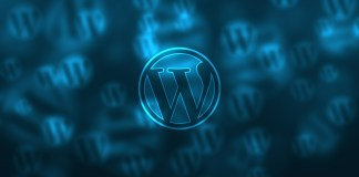 wordpress logo blue background