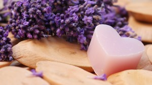 lavender heart and flowers