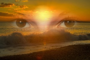 esoteric image of womans eyes and the sea