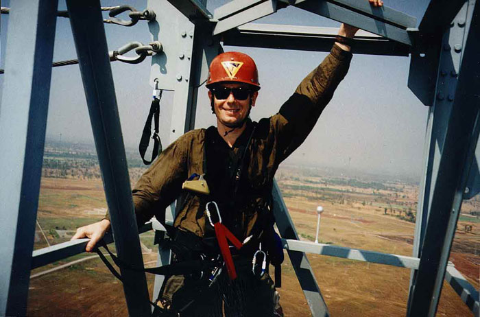 Steve Davis at Voice of America Relay Station, Udorn, Thailand, at the Hammerhead, 450 feet.