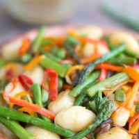 Gnocchi Pasta With Asparagus And Sweet Peppers