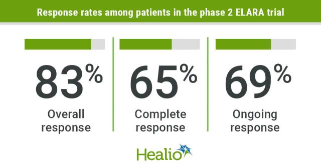 Sixty-five percent of patients with relapsed or refractory follicular lymphoma had an initial complete response to a single infusion of tisagenlecleucel.