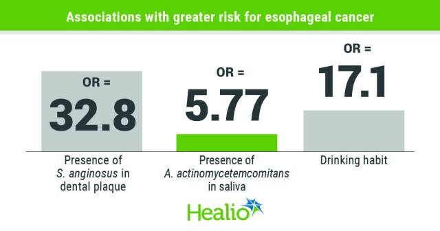 Researchers found that prevalence of three oral bacteria, as well as drinking habit, appeared to be associated with high risk for esophageal cancer.