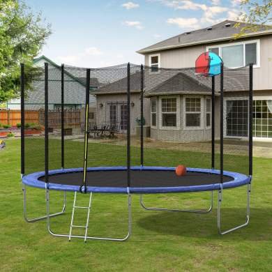 12FT Round Trampoline with Safety Enclosure Net & Ladder, Spring Cover Padding