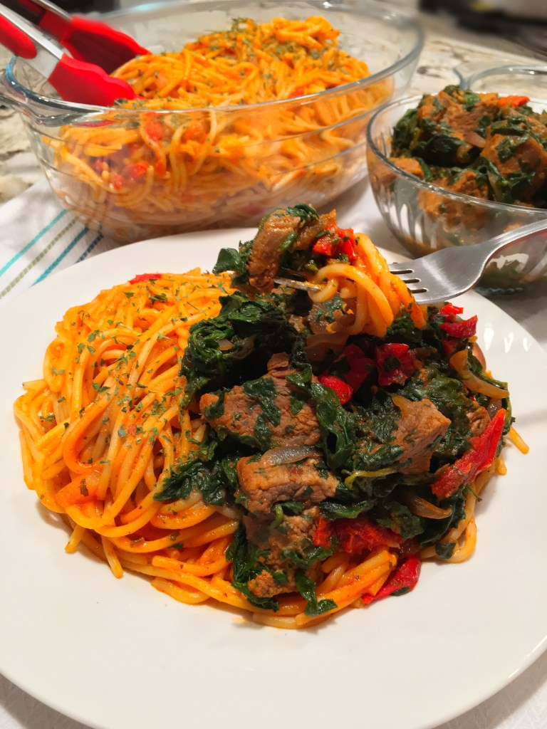 sauteed spinach with beef