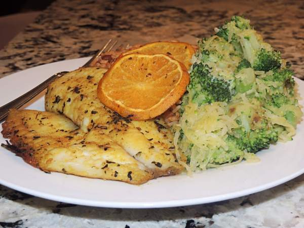 Orange Chili Tilapia with Roasted Broccoli