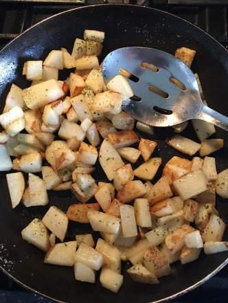 Hash potato and egg breakfast
