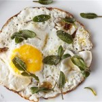 Fried eggs with sage
