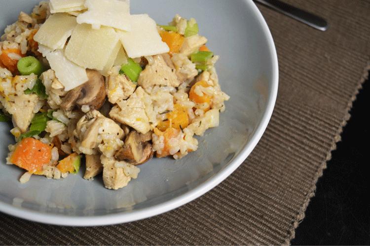 Risotto met pompoen, kip en champignons