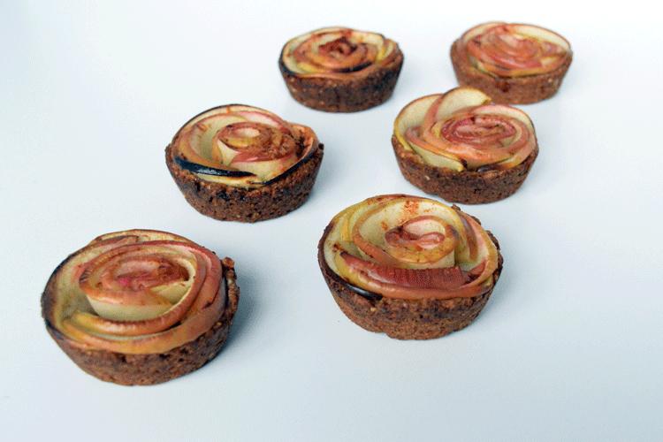 Appelroosjes, mini taartjes met haver volkoren bodem