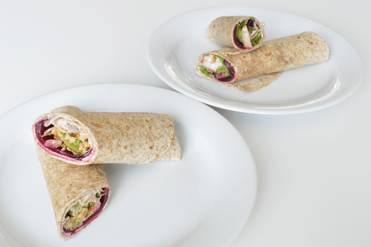 Lunch wraps met geitenkaas, bietjes en walnoten