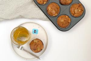 Volkoren muffins met rabarber