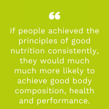an image of a quote highlighting the importance of consistent good quality nutrition.