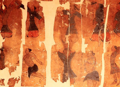 This Han Dynasty scroll image depicts Qigong movements and positions.