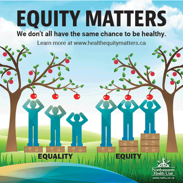"""This is an image that displays the difference between equity and equality. For equality, it shows three people, of different heights, on a single box; only one can reach an apple on a tree. For equiity, it shows the same three people with varying number of boxes all able to reach an apple. The text says, """"Equity Matters: We don't all have the same change to be health"""""""