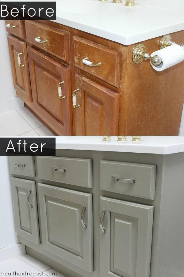 How To Refinish A Bathroom Vanity Naturally No Vocs