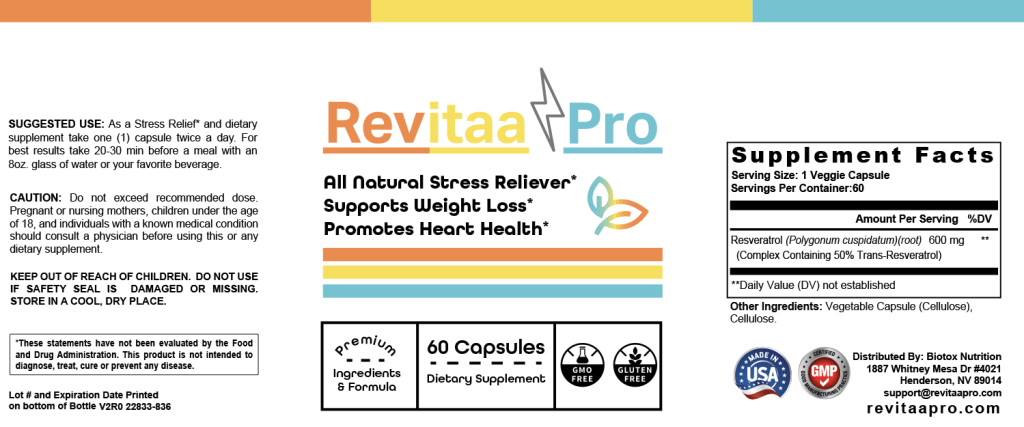 Revitaa Pro Supplement Facts