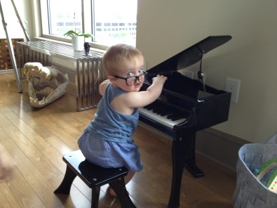 Max playing on his new piano