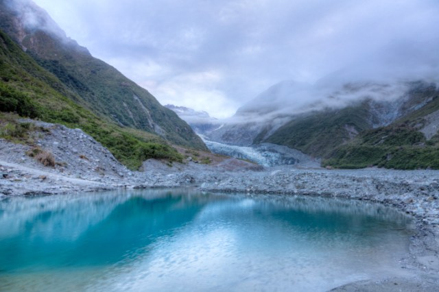 Meltwater pool at Fox Glacier