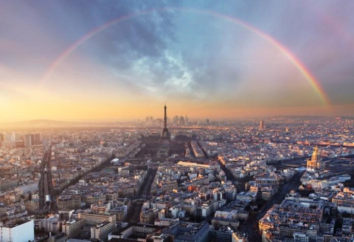 Paris with rainbow - skyline
