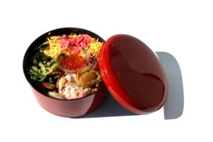 Japanese kaisen bento in the white