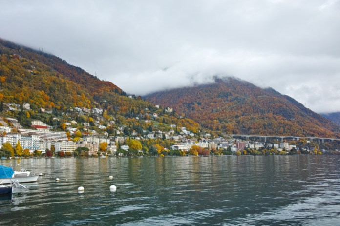 Panoramic view to Montreux and Alps, Switzerland