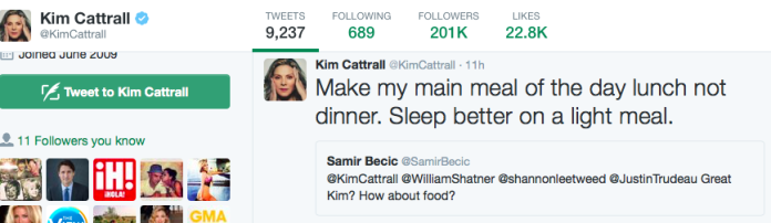 Kim Cattrall Diet