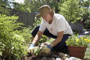 Close-up of a mature woman gardening