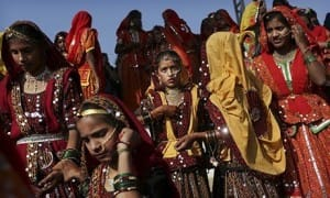 Indian girls dressed in traditional attire in Pushkar, Rajasthan, India