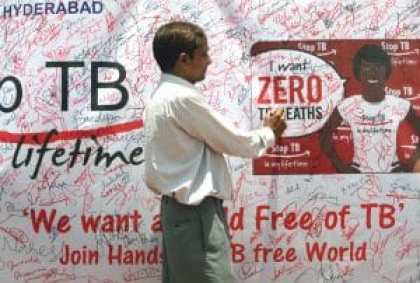 Local tuberculosis awareness activists campaign, during visit of red ribbon express to Secunderabad