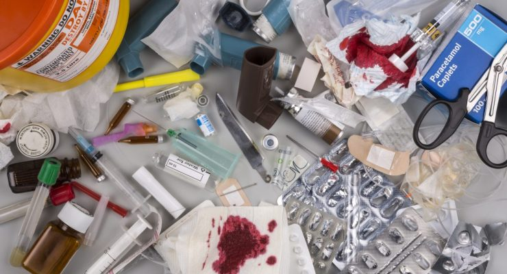 Hazardous medical waste that needs to be carefully disposed of by incineration. Items include clinical waste such as used syringes and needles, used swabs, plasters and bandages. Used drug blister packs and ampules. Biomedical waste is potentially infectious.