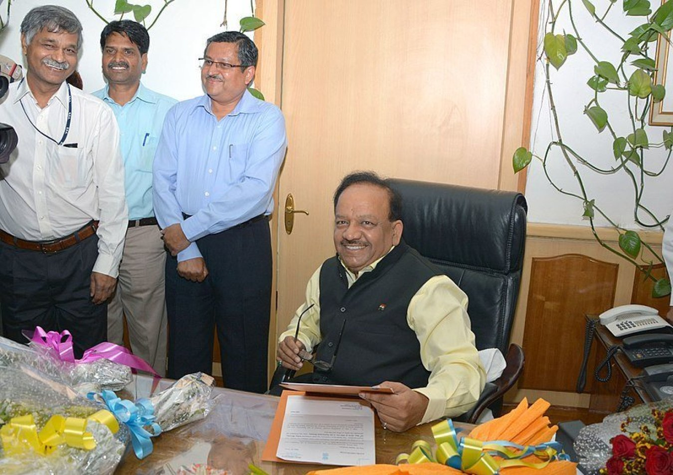 Union Health MInister Dr Harsh Vardhan, who touted the importance of UHC at a WHO event. Image credit: Ministry of Health and Family Welfare (GODL-India) [GODL-India (https://data.gov.in/sites/default/files/Gazette_Notification_OGDL.pdf)] This file or its source was published by Press Information Bureau on behalf of Ministry of Health and Family Welfare, Government of India under the ID 54064and CNR 56840.(directlink)