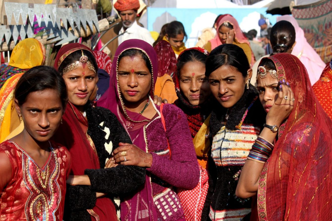 Pushkar, India, November 28, 2012: Beautiful Indian girls and women at Pushkar fair, in the Indian Rajasthan state