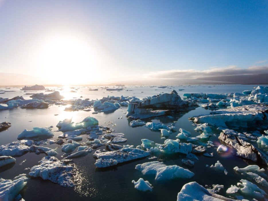 Rising sea levels. Glaciers melting concept. Image credit: 123rf