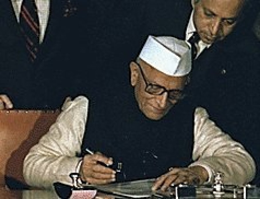 Former Prime Minister Morarji Desai, whom Ashwini Choubey claimed to have used cow urine as a medical product in his lifetime. Desai is known to have consumed his own urine, though not cow urine.
