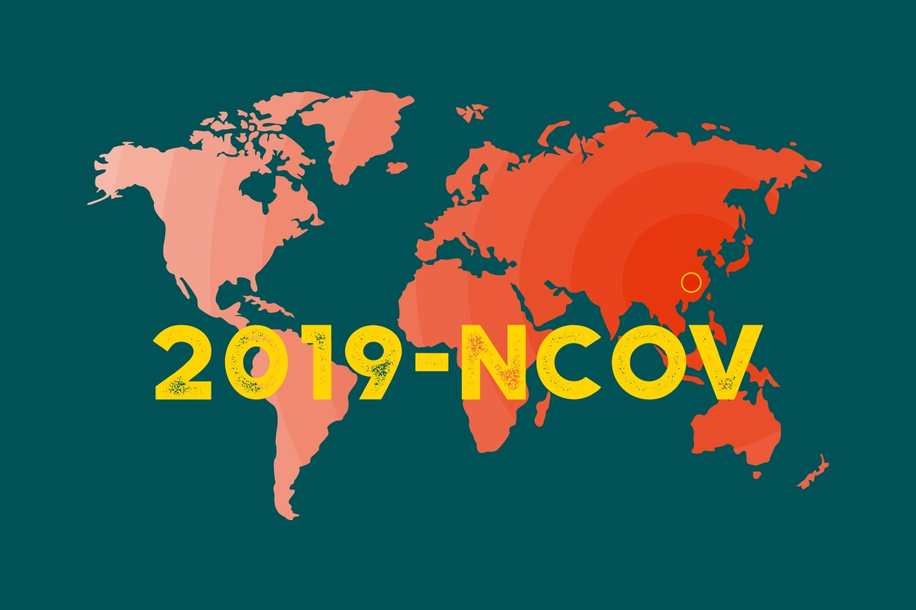 Map of the World with marked Wuhan as source of viral infection coronavirus 2019 2020 NCoV. 2019-nCoV outbreak concept.
