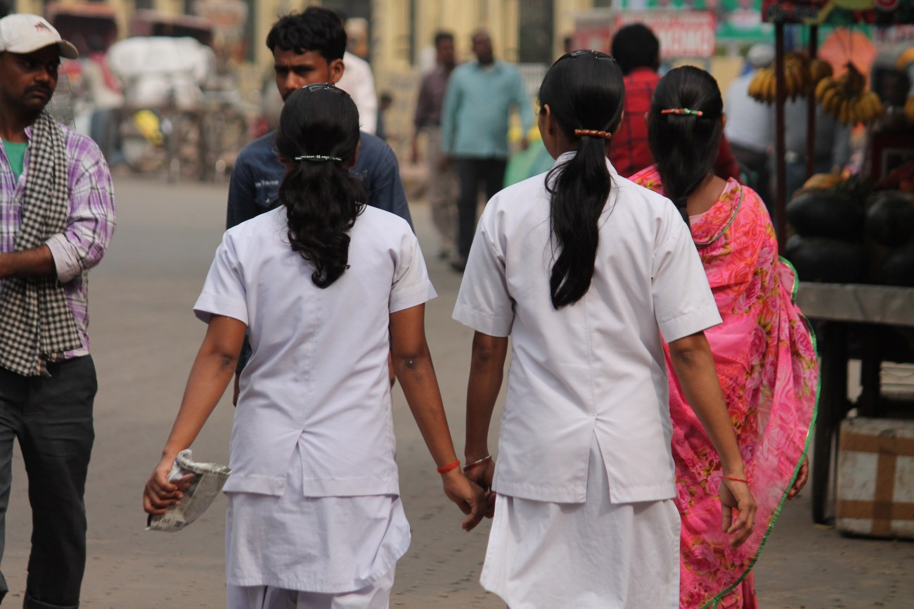 Stock Photo - Indian nurses at road. Street photo, Shot at Gandhi Maidan, Patna, Bihar, India on 25.02.15 at afternoon hours.